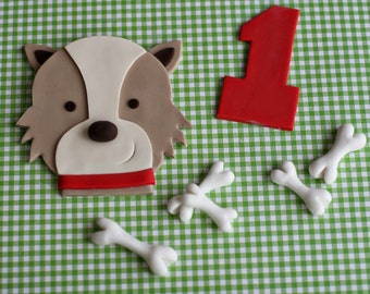 Fondant Puppy Dog, Dog Bones and Age Cake Decorations for Your Puppy Dog Birthday Party