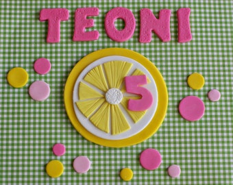 Pink Lemonade Lemon Cake Topper, Polka Dots and Name Cake Decorations Perfect for a Smash Cake or Birthday Cake