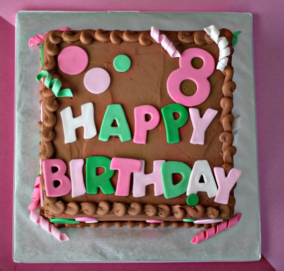 Fondant Polka Dots, Squiggles, Age and Happy Birthday Message for Decorating a Birthday Cake