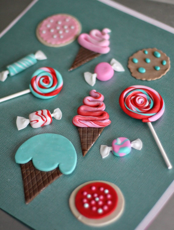 Fondant Candy, Ice Cream, Lollipop and Cookie Toppers for Decorating Cakes, Cupcakes, Cookies or other Treats