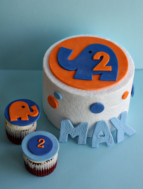 Fondant Elephant, Polka Dot and Birthday Kid's Name Cake Decorations Plus Elephant and Age Cupcake Toppers