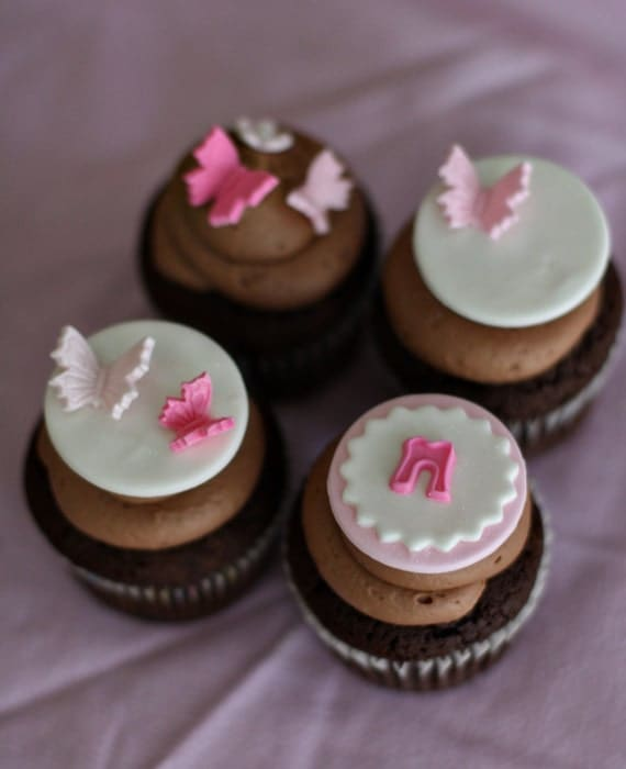 Butterfly fondant baby shower toppers with initials for cupcakes