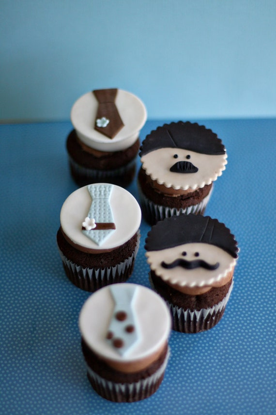 Cupcake Decorating Ideas For Guys : Mustache Men and Tie Fondant Toppers for Decorating Cupcakes
