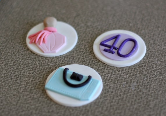 Fondant Perfume, Purse Shopping Bag and Age Toppers for Decorating Cupcakes, Brownies or Cookies