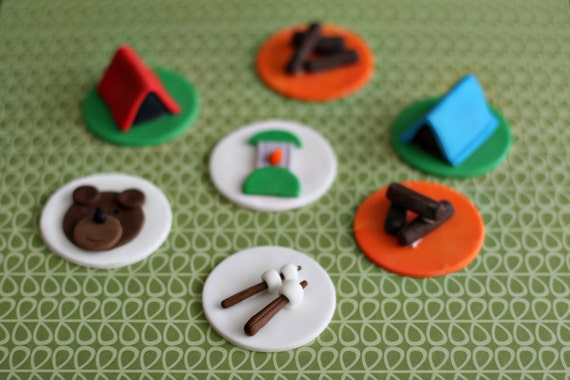 Camping Bear, Tents, Smores, Lanterns, and Fire Fondant Toppers for Cupcakes Perfect for an Outdoor Camping Party