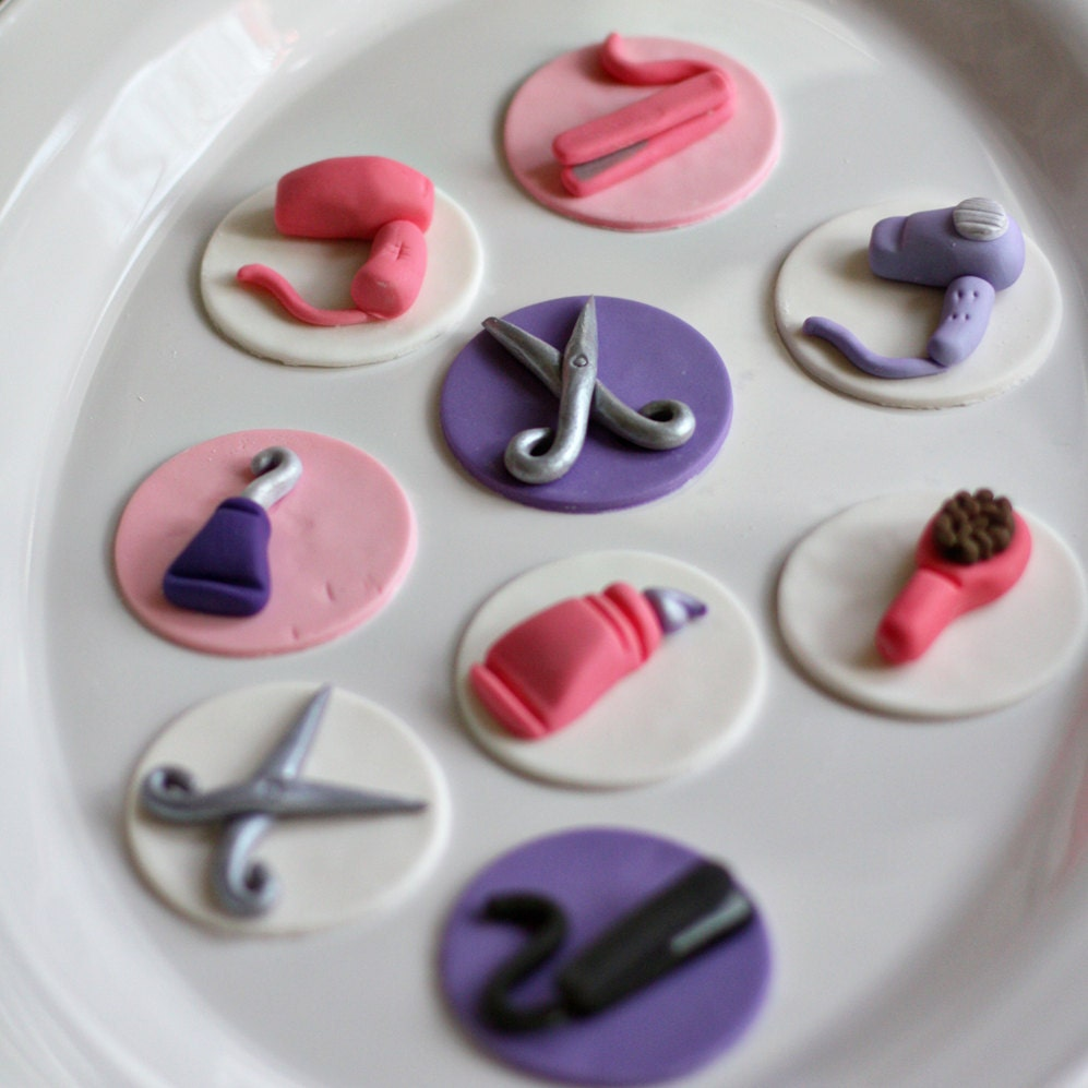 Cake Fondant Nails: Fondant Hair Stylist Scissors Brushes Flat Iron And Hair