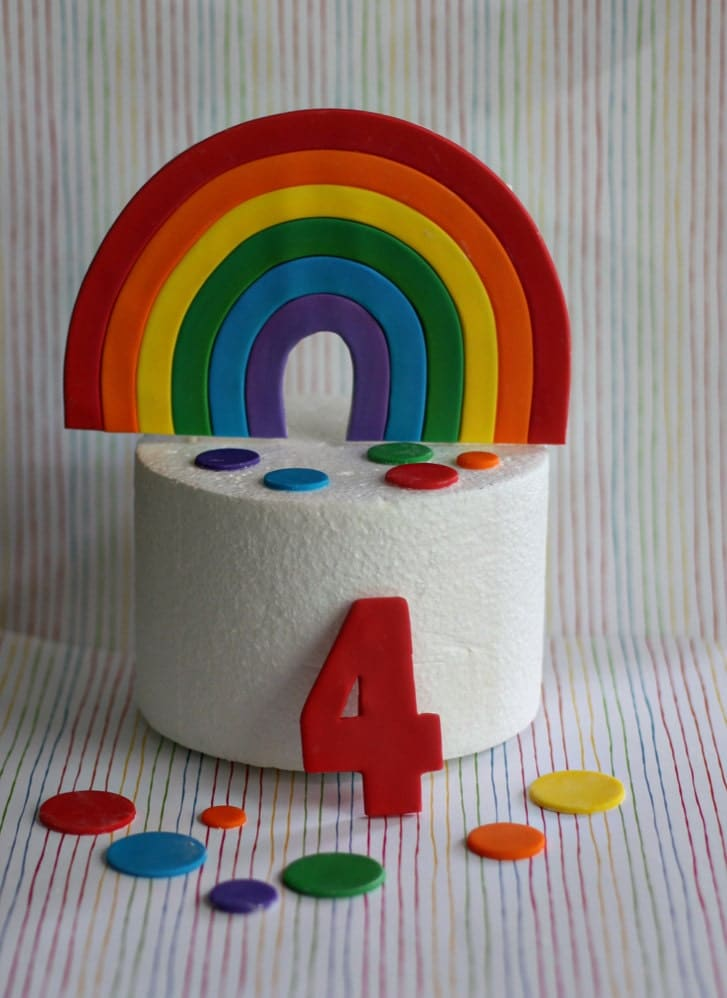 Fondant Rainbow Cake Topper Polka Dots and Age Decorations