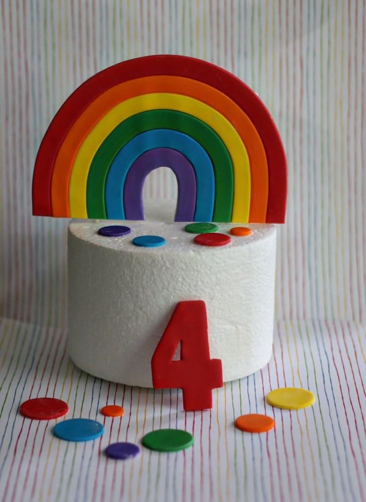 Rainbow Cake Decorations Uk : Fondant Rainbow Cake Topper Polka Dots and Age Decorations