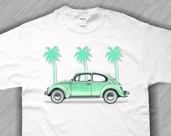 VW Beetle Tee Shirt Palm Tree  Design Unisex, S,M,L,XL White,Ash Grey or Sand Color