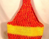 Crochet Market Tote Bag in Fiery Orange and Yellow