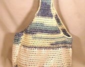 "Crochet Blue White and Cream Cotton Market Tote Bag - ""Partly Cloudy"""