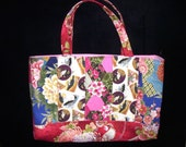 SALE - Quilted City Tote Bag Asian Aloha Fabric OOAK