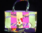 SALE - Quilted City Tote Bag Aloha Floral Hawaiian