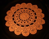 "Crochet Doily Large 26-1/2"" Caramel Lace Tablecloth"