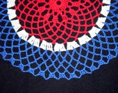 4th of July Crochet Doily Blue White and Red Patriotic