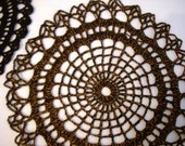 Crochet Orange and Black Spider Web Doily