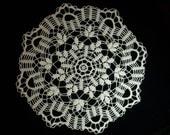 Crochet Doily Ecru Beige Floral Cotton Lace 22 Inches