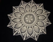 Crochet Doily Ivory Cotton Lace 19 Inches