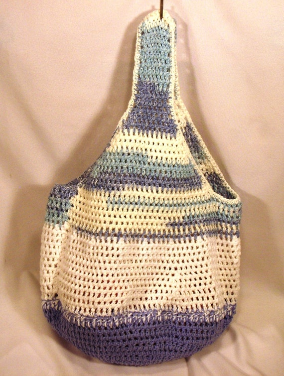 """Crochet Blue White and Cream Cotton Market Tote Bag - """"Partly Cloudy"""""""