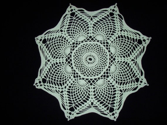 Crochet Doily Mint Green Pineapple Cotton Lace 15 Inches