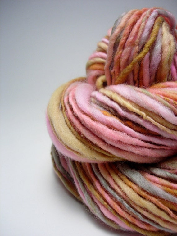 Handspun Yarn - Tea Time, Polwarth Wool, so soft, single ply, thick and thin, bulky weight