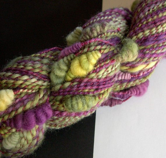 Handspun Yarn - Luscious Grapes, Falkland and Cotton, so soft, artyarn with beehives, 2-ply, bulky weight