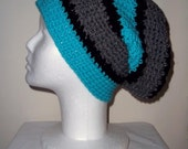 Long turquoise, black & gray beanie