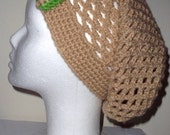 Beige Mesh Slouch Beanie with a beige & green bow