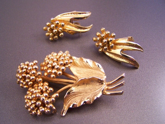 Signed Marboux Earrings and Brooch