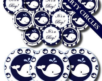 NAUTICAL WHALE Baby Shower or Birthday Party - Ships AHOY It's a Boy - Printable Invitations and Party Supplies