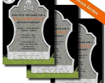 HALLOWEEN INVITATIONS - Printable - Gravestone
