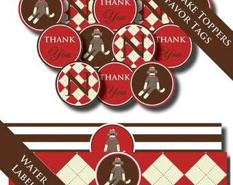 SOCK MONKEY Birthday Party or Baby Shower - Printable INVITATIONS and Party Supplies - Argyle Striped Sock Money Design