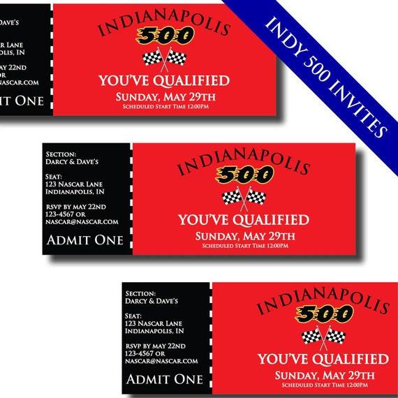 NASCAR Indianapolis Indy 500 Printable Invitations and Party Supplies
