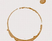 coffee tea stain ring digital stamp digi stamp resizable, transparent background, photoshop layer
