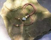 Tie back dark brown hemp twist knot necklace w natural seagreen shell focal
