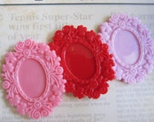 3 pcs. - Resin Floral Cameo Setting Frame - Pink, Red and Light Pink