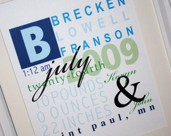 """FRAMED Personalized Baby Stats-""""The Brecken"""""""
