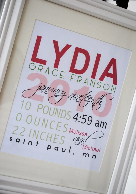 """FRAMED Personalized Baby Stats - """"The Lydia"""""""