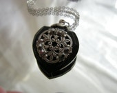 Vintage Inspired Black Heart Perfume Bottle Necklace