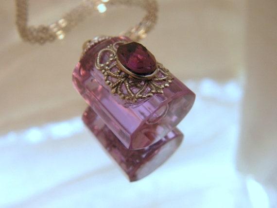 Lavender Perfume Bottle Necklace