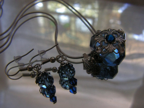Something Blue Diamond Necklace and Earrings