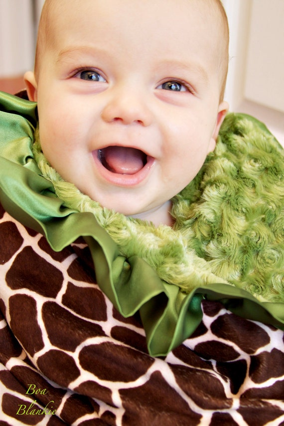 Custom minky blanket-You Choose Animal print & Color-Stroller size-Chennille fur Minky-ruffled satin trim-BoaBlankie