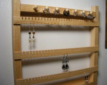 Oak Jewelry Hanger, Earring Holder, Bracelet, Ring Rack