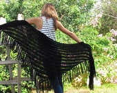 BLACK SHAWL  Black Wraps Shawl  knitted shawl