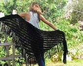 BLACK SHAWL  Black Wraps Shawl  knitted shawl