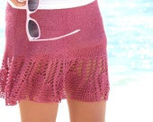 Vintage Style Pink Lace Spring Party Skirt Knit Skirts