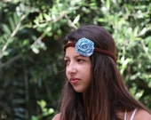 Fashionable and comfortable brown blue white knitted headband with flower