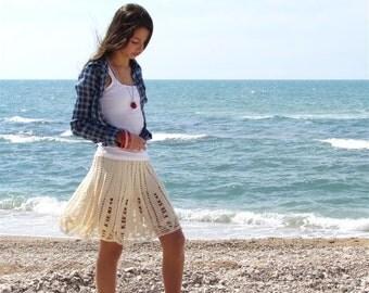Cream lace skirt Hand Knit Skirt, Crochet Skirt, Lace Knit Skirt vintage skirt boho skirt mini skirt sexy designer skirt boho crochet skirt