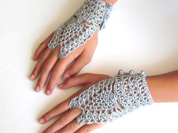 Sale  was 22.00 now only 16.00 Elegant Fingerless Crochet Lace Wedding Gloves Accessories
