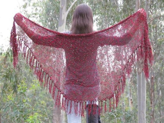 Large  Shawl  - Red Black Golden Shawl Wrap - Hand Crochet  triangle Shawl,  Clothing Accessory